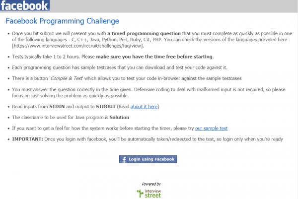 Facebook Programming Challenge