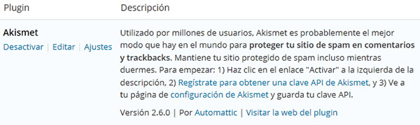 Traducir descripción de un plugin de WordPress (descripción Akismet en PLUGINS INSTALADOS en castellano)