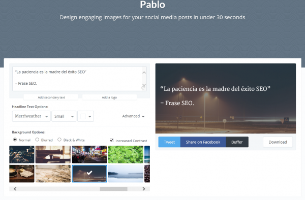 Crea imágenes impactantes para tus publicaciones en redes sociales en menos de 30 segundos.