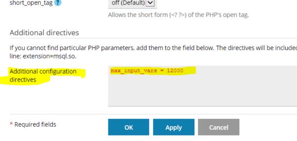 Configuración max_input_vars en Plesk