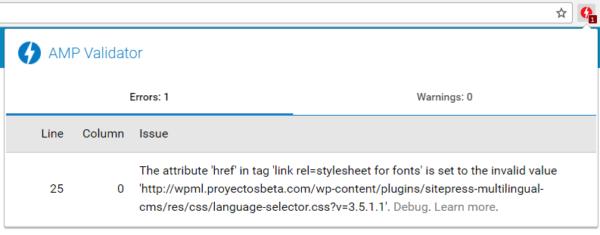 Error AMP en WPML