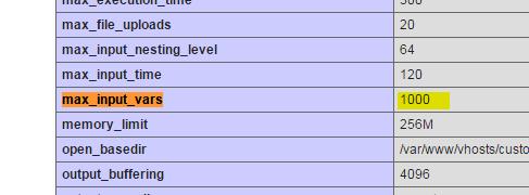 max_input_vars en Plesk por defecto = 1000
