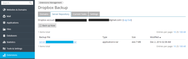 Restaurar copia desde Dropbox de un servidor Plesk