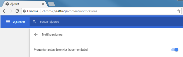 Ajustes Google Chrome: Notificaciones del navegador ON (por defecto)