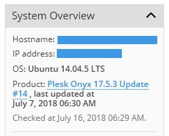 Plesk System Overview: No hay actualización disponible
