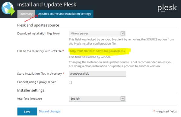 Plesk Updates: Configuración del mirror server incorrecta