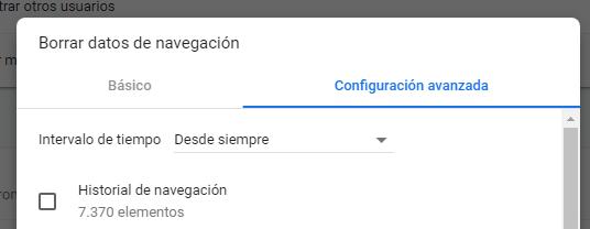 Borrar datos de navegación en Google Chrome