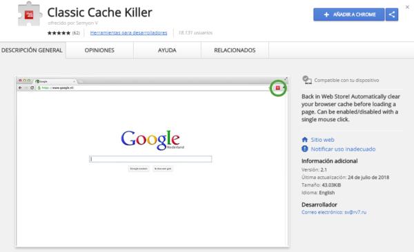 Extensión de Google Chrome: Classic Cache Killer