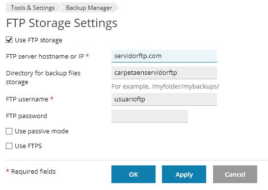 Configuración servidor FTP el Backup Manager de PLESK