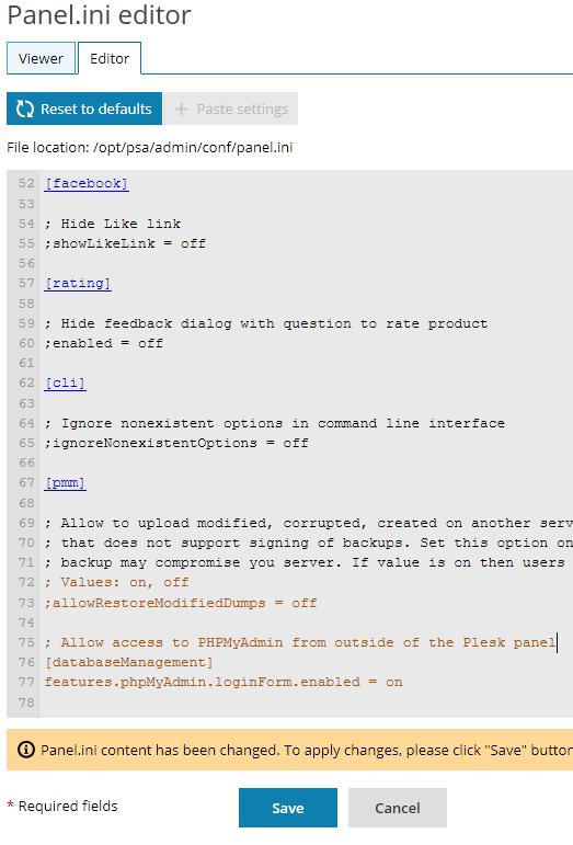 Editar panel.ini para permitir acceso a phpMyAdmin sin estar logueado en Plesk