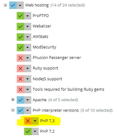 Instalar versión 7.3 de PHP en PLESK