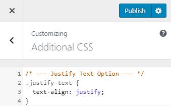 Añadir CSS para justificar el texto