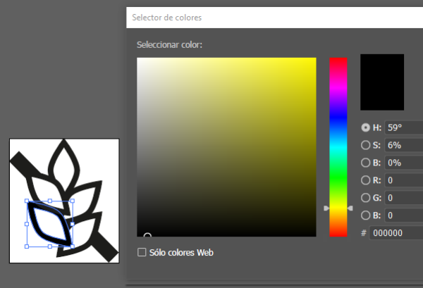 Si en el SVG coloreamos de negro (#000000) una parte, solo a esa parte se le aplicará el color que seleccionemos en Elementor.