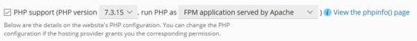 Ajuste PLESK PHP: php fpm application