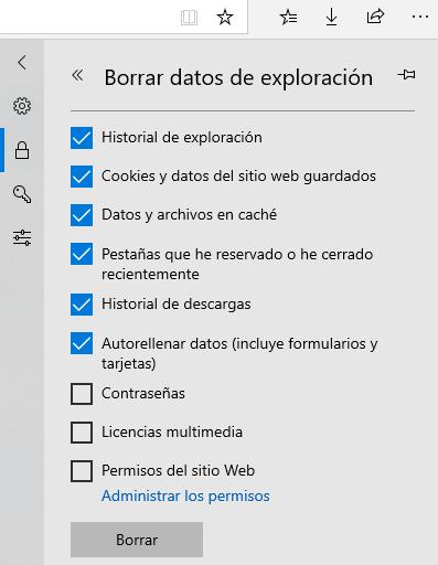 Eliminar todas las cookies de Microsoft Edge