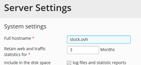 Server Settings: stock.ovh